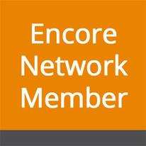 Encore Network Member logo - text on orange background with dark grey bar at the bottom.