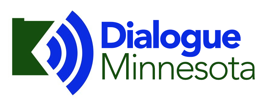 Dialog Minnesota logo - Text to the right of image of the state of Minnesota with sound waves broadcasting to the right.